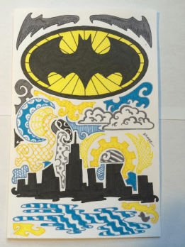 Gotham skyline, harbor, and bat symbol. Plus some gears cause they are cool.