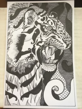 Highly stylized tiger and swirls.