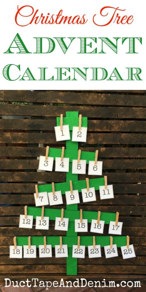 Rustic Wood Christmas Tree Advent Calendar With Printable
