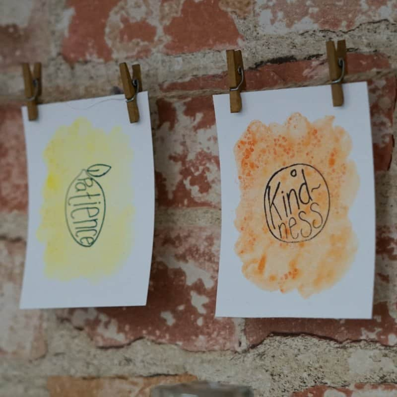 DIY Stamped Amp Watercolor Fruit Of The Spirit Garland
