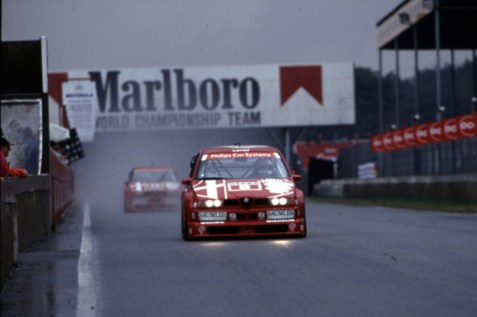 1993, Larini and Nannini leading the field at Zolder and setting the trend for what would prove a dominant campaign for Alfa Corse.