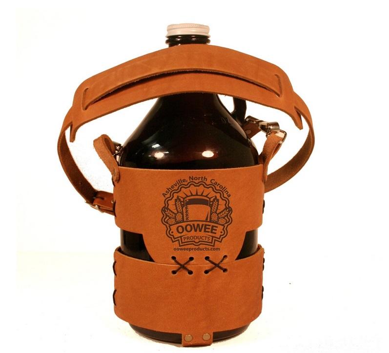 leather growler carrier, beer bottle carrier