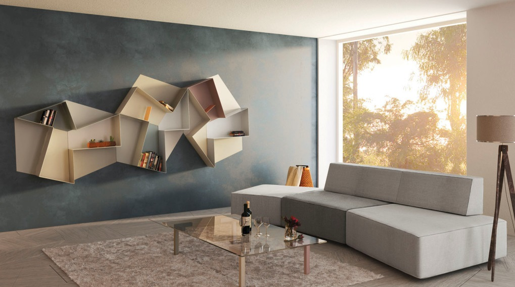 Another shelving system that combines form and functionality, this ultra  contemporary set features a stunning geometric form. With its clean and  elegant ...