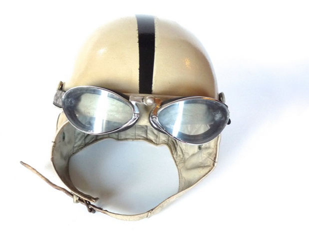 vintage french motorbike helmet