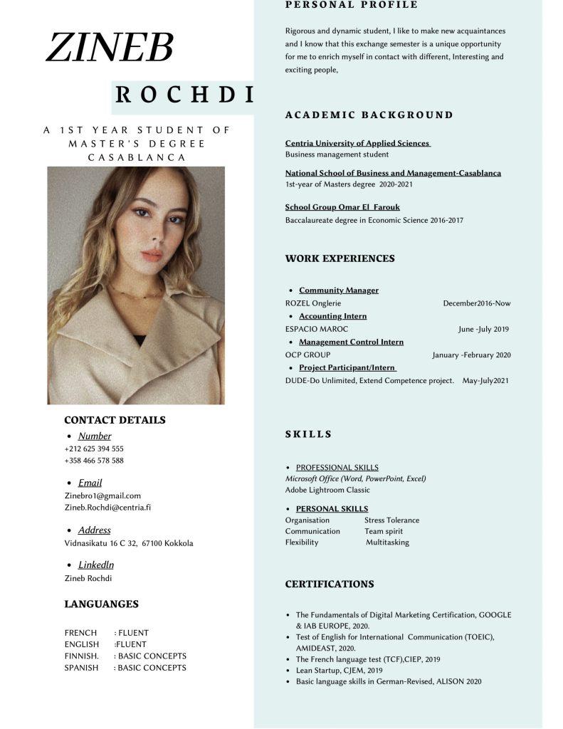 Zineb's resume
