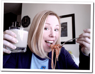 stella quinn with spaghetti and white russian