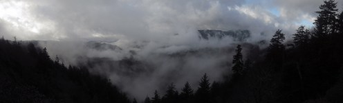 Clouds in the Great Smoky Mountains on the Tennessee/North Carolina Border Panorama