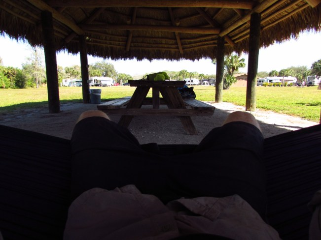 First Person View from Hammocking in a Chickee in Seminole Campground and RV Park