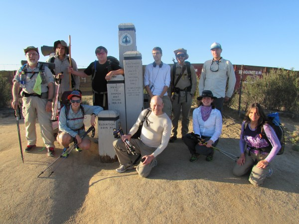 Gang of Hikers Starting off at the Southern Terminus at the Mexican Border Near Campo