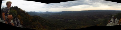 Tennessee Jed and Oil Can on Dragon's Tooth Outside Catawba, Virginia Panorama