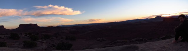 Sunset and Raisin Rob at Murphy Hogback Campsite Panorama
