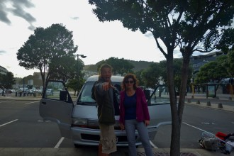 Markus, his Mom, and their Campervan in Wellington