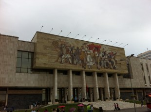 current mosaic modified from original design. history museum. tirana
