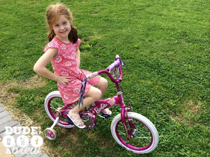 lily on barbie bike