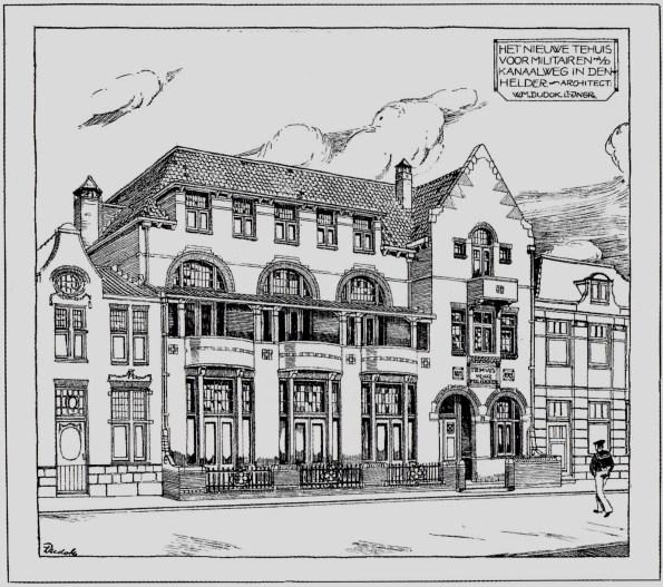 Tehuis voor militairen (1913), Kanaalweg, Den Helder. Ontwerp: Dudok.