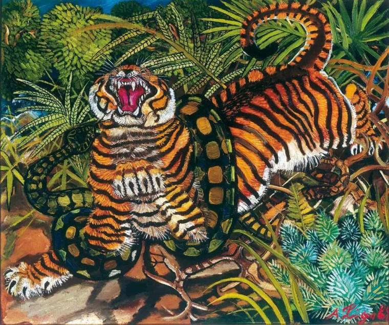 Antonio Ligabue: Tigre assalita dal serpente, olio su faesite cm 66 x 80