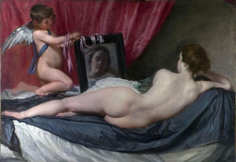 """Diego Velázquez, Venere allo specchio (conosciuto anche come """"Venere Rokeby"""" o """"Venere e Cupido"""", 1647-1650, olio su tela, 122x177 cm, National Gallery, Londra"""