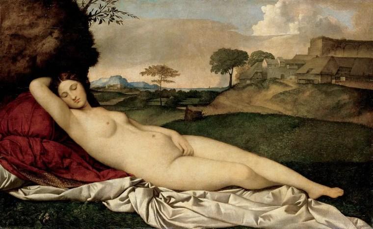 Giorgione, Venere dormiente, 1507-1510 circa, olio su tela, 108,5×175 cm, Gemäldegalerie Alte Meister, Dresda