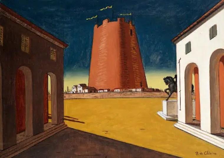 """Giorgio de Chirico, """"Piazza d'Italia con torre rosa"""", (1934), Mart, Deposito Collezione L.F."""