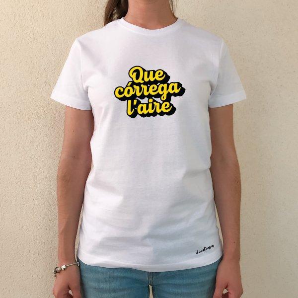camiseta blanca unisex que córrega l'aire
