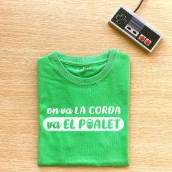 camiseta verde on va la corda va el poalet