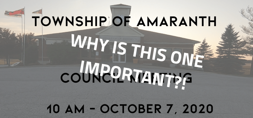 Township of Amaranth Council Meeting October 7, 2020 -