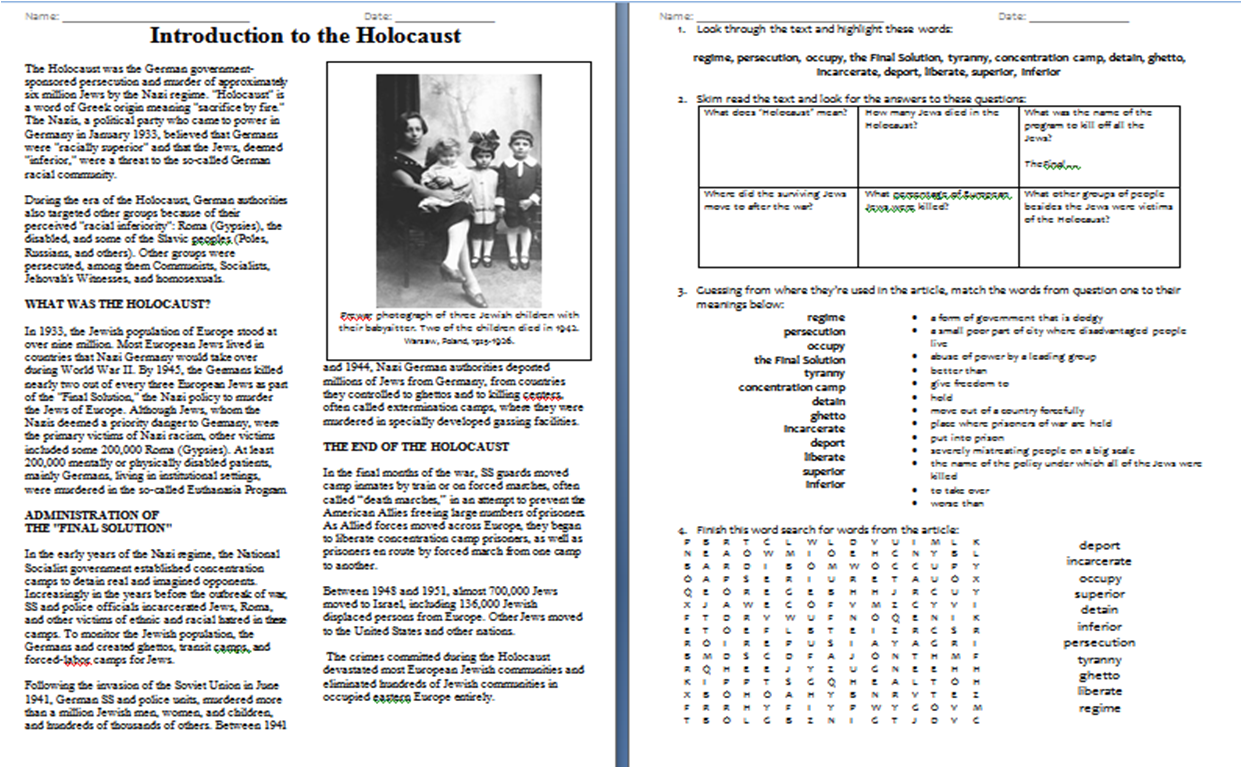 Worksheet Introduction To The Holocaust Duffy Stirling S Teaching Stuff