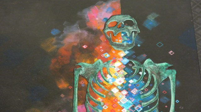 Sparkle. An acrylic painting showing a skeleton containing glowing fizzling embers inside