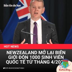 newzealand mở lại biên giới 100 sinh viên quốc tế