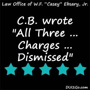 Casey's strong arguments during the hearing made all the difference and all three of my charges were dismissed. Casey is not only a very gifted lawyer but is also clearly in the  business for the right reasons. There is no way I could have done it without him and I would recommend him to anyone.