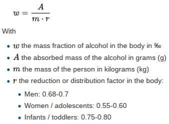 Widmark Formula