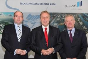 Der Vorstand der Duisburger Hafen AG: Markus Bangen, Erich Staake (Vorsitzender) und Prof. Thomas Schlipköther. Foto: Rolf Köppen / duisport.