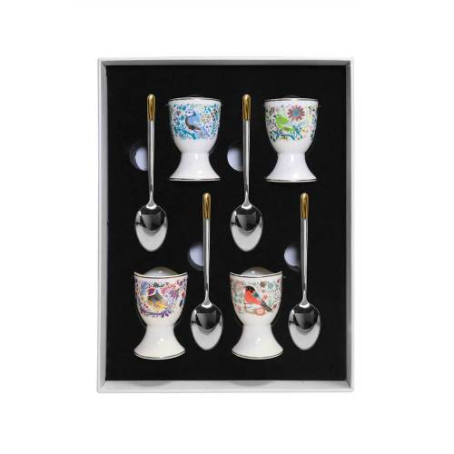 Set of 4 Birdy Egg Cups & matching Spoons