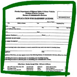 Application for a Florida DHSMV Hardship Driver's License Form