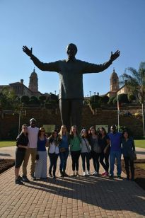 At the Mandela statue in front of the Union Buildings