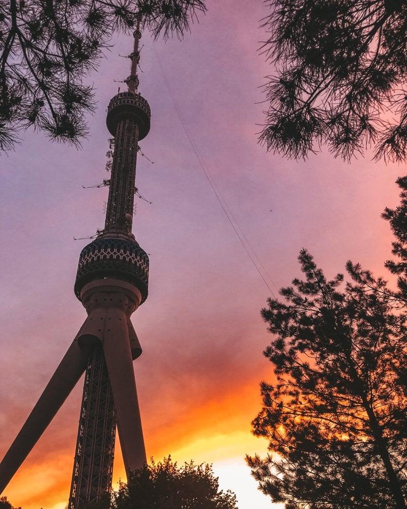 Tashkent TV Tower at Sunset