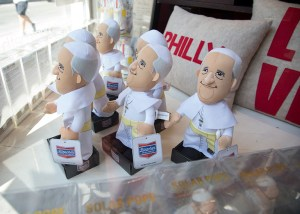 Pope Francis dolls on display at Open House, a store in downtown Philadelphia, Pa. on August 28, 2015, a few weeks befor Pope Francis' scheduled trip to the United States. Religion News Service photo by Sally Morrow