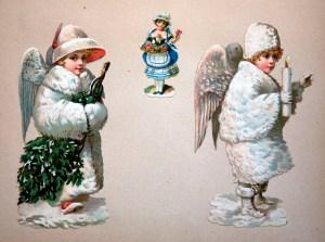 2 tidlige engle som glansbilleder omkring 1875 ikke fra mit albu