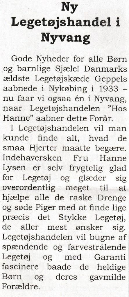 Forretningens annonce i Andelslandsbyens egen avis.