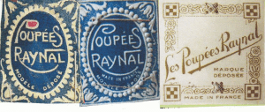 De 3 første påsyede mærker på Raynal-dukkerne, tv det første, her var ikke påført oprindelsesland, dette ses først på de senere mærker!