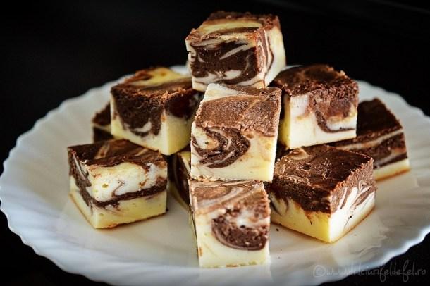 Prajitura cu branza marmorata cu ciocolata