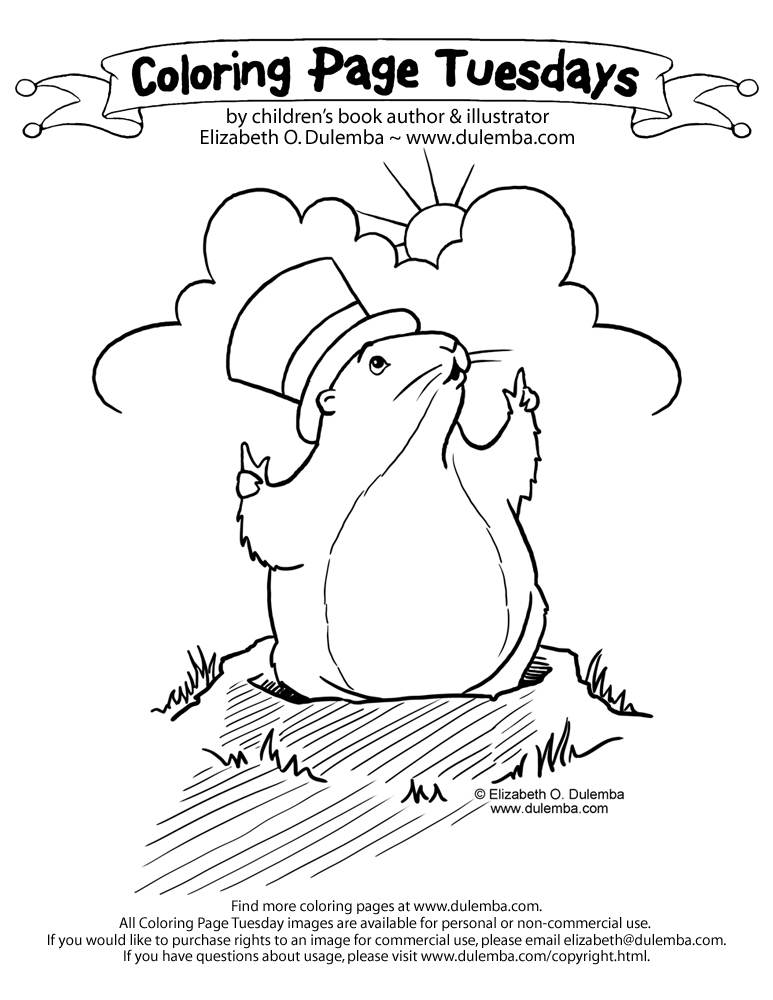 dulemba coloring page tuesday groundhog day