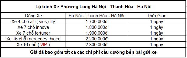 Bảng giá thuê xe đi thanh hóa từ hà nội giá rẻ nhất