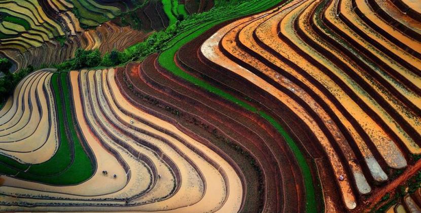Tuyệt tác ruộng bậc thang ở Hoàng Su Phì vào mùa nước đổ