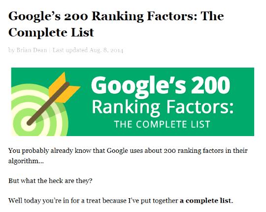 Google ranking factor