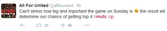 LFC vs MUFC tweet