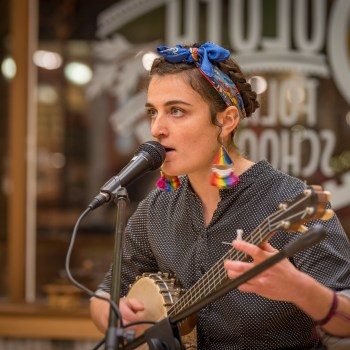 Charlotte Montgomery plays music at the Duluth Folk School
