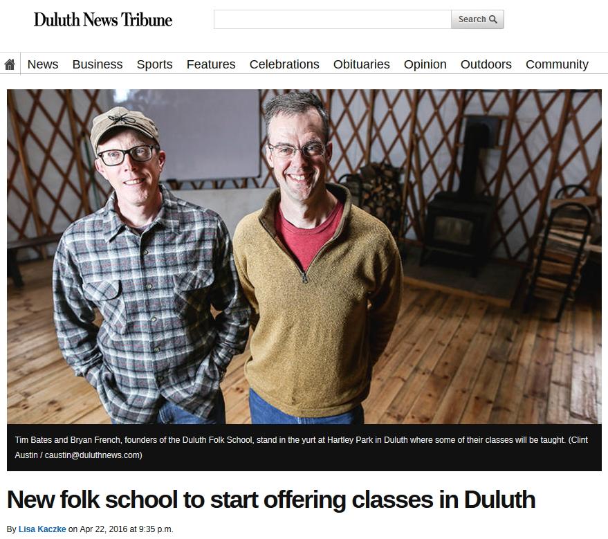 Duluth Folk School Interviewed by Duluth News Tribune