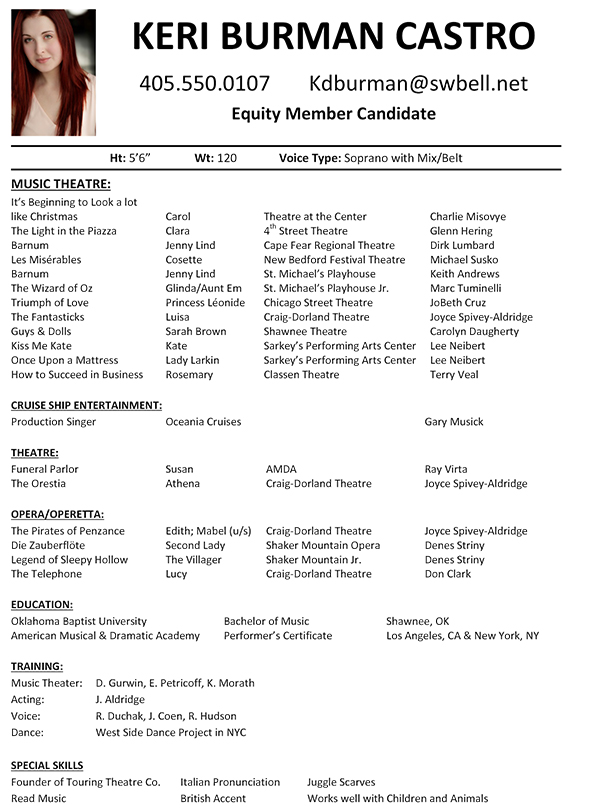 theatre resume template word musical theatre resume template