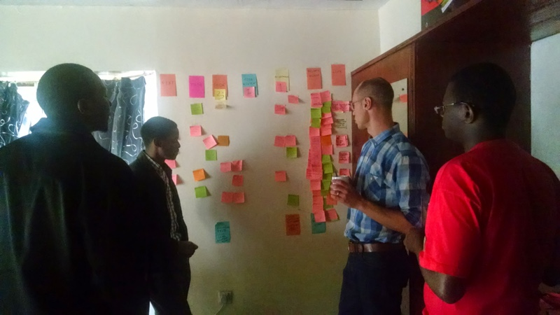 Linus, CTO of Duma Works and the Duma Works software team go over daily milestones at our team standup